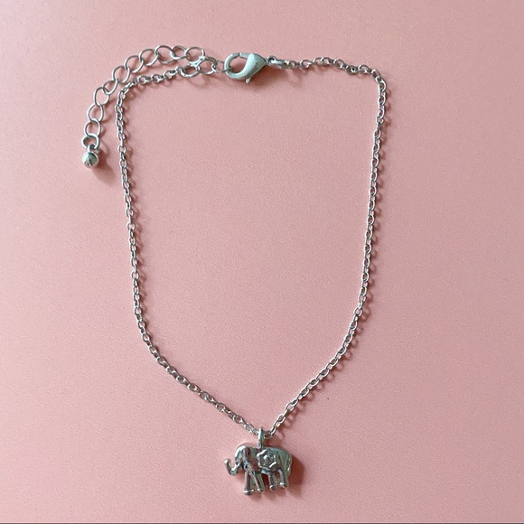 Dainty Silver Elephant Choker Necklace